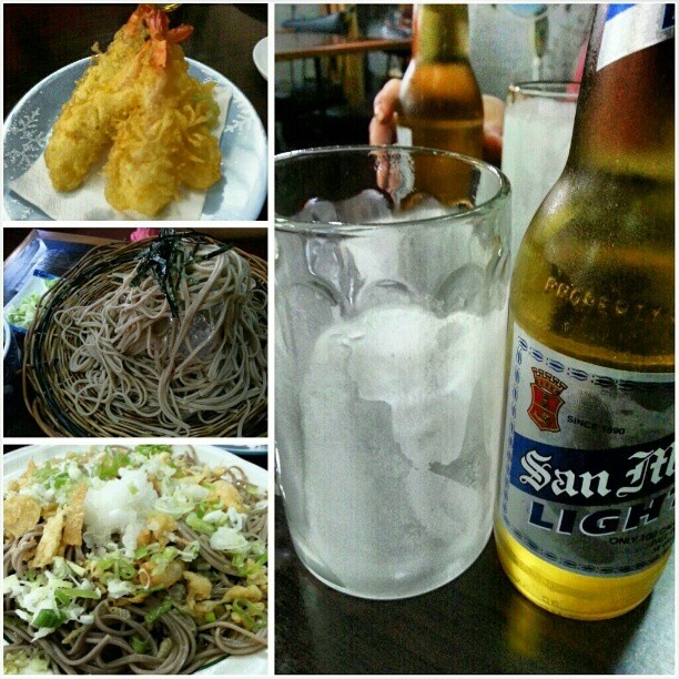 #shrimp#tenpura #morisoba and #oroshisoba with #sanmig#light#beer  for #dinner at #yummy#japanese#restaurant #海老#天ぷら#もりそば#おろしそば #サンミゲル#ライト#ビール #philippines#フィリピン