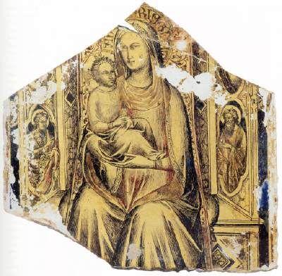 Lorenzo Monaco - Madonna col Bambino in trono e i Santi Giovanni Battista e Giovanni Evangelista - 1390 - lamina oro e pittura ad olio su vetro - Musée du Louvre, Parigi