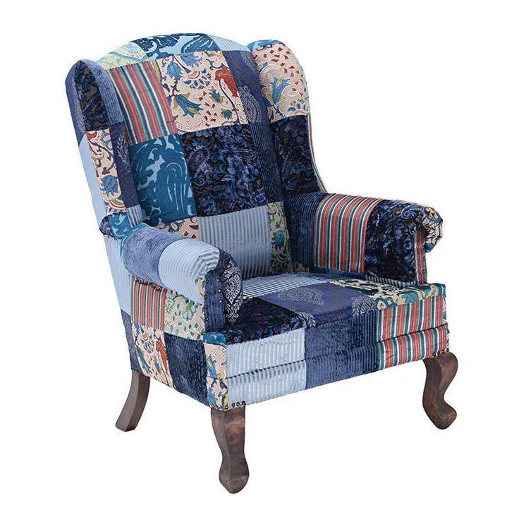 """Πολυθρόνα βελούδινη """"SCARLETT"""" με patchwork σε μπλε χρώμα"""