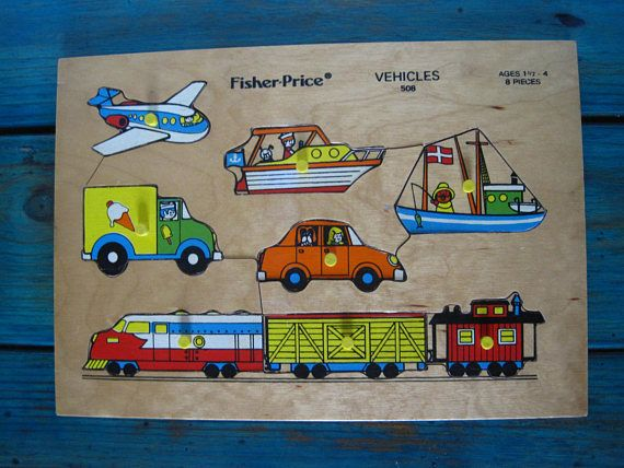 Fisher Price Vintage Wooden Puzzle  Vehicles 508  1970s