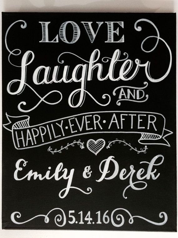 best 25 wedding chalkboard art ideas on pinterest wedding chalk Wedding Messages Happily Ever After personalized love, laughter & happily ever after wedding chalkboard art sign 16\