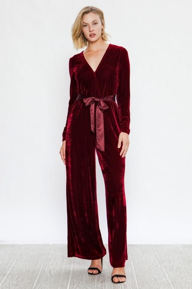 Long sleeve vneck velvet jumpsuit in 2018 | It\'s beginning to look a ...