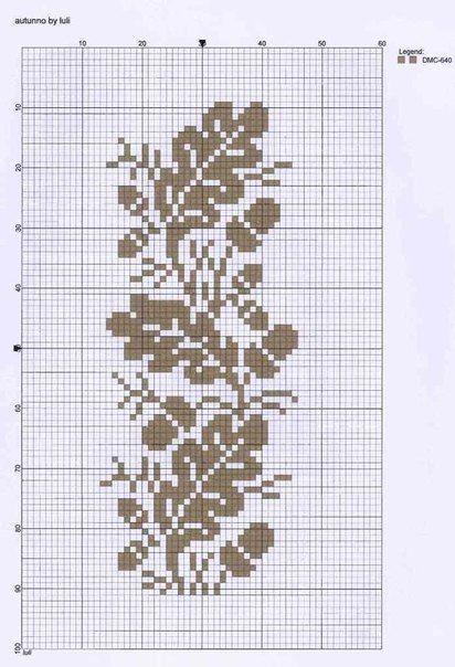 Oak leaf cross-stitching chart