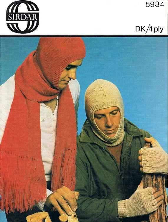 Pdf Vintage Mens MOD Balaclava Hat Helmet Scarf & Fingerless