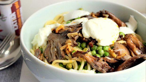 Špagety s hlívou a mozzarellou Foto: