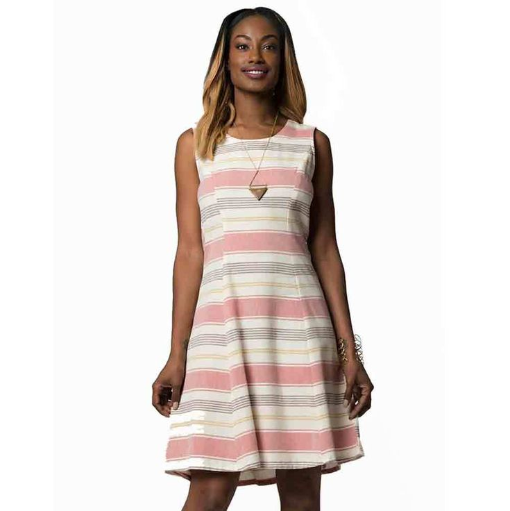 Fair Trade Bar Harbor Dress Rose Stripes - Tango Zulu Imports