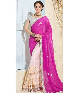 Superf Pink And Off-White Net Saree With Blouse.
