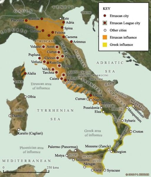 This map shows the greatest extent of Etruscan influence in Italy, during the seventh to fifth centuries BC, including the Campania region to the south.