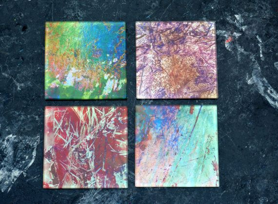 Glass Coasters Set of 4 Variety Pack Seabed. by Zero12Photography