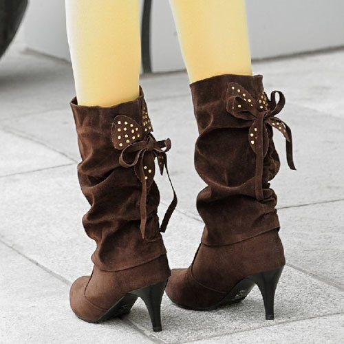 Chocolate suede high-heeled boots with adorable bow in back.  $39.99 (including shipping).
