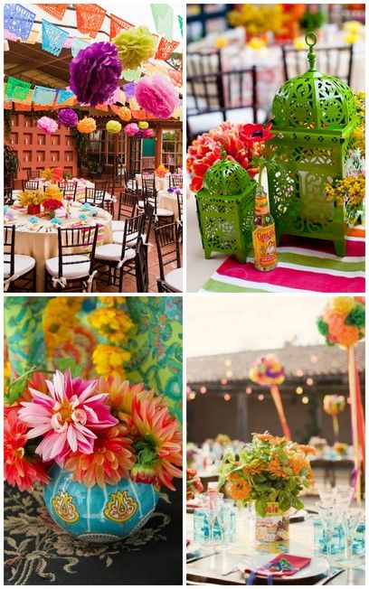 mexican party decorations | ... : Mexican Flags , Vibrant Birdcages , Bold Centerpiece , Mexican Poms