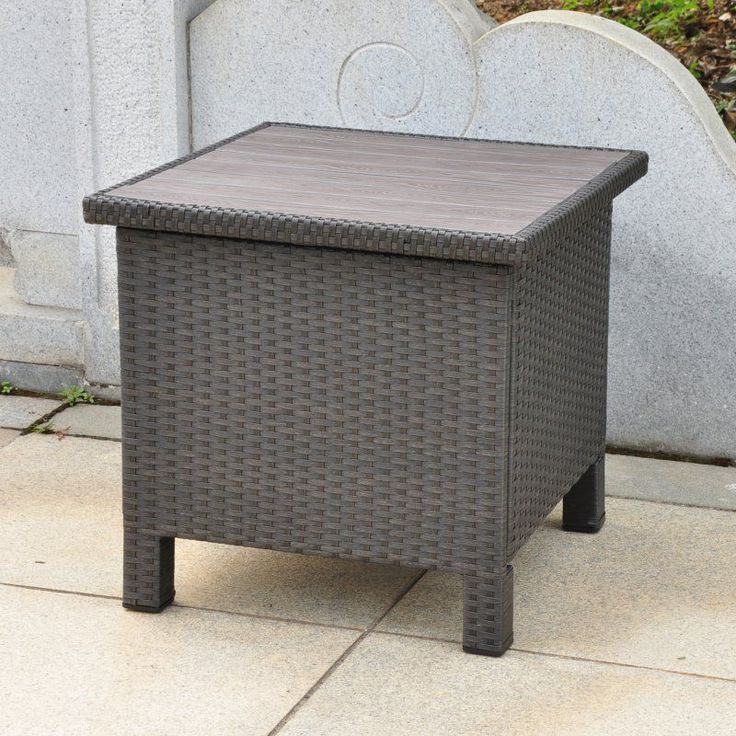 International Caravan Barcelona All-Weather Wicker Contemporary Outdoor Storage Table - 4252-ST-