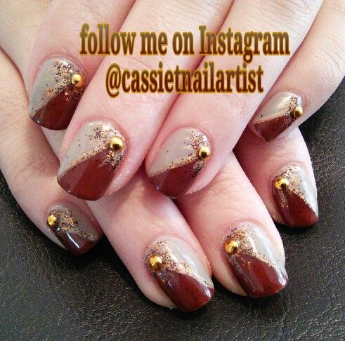 #Autumn gel mani with good studs- nail art by Cassie Thompson nail artist of Vancouver, WA. Follow me on Instagram @cassietnailartist & Facebook @ Cassie Thompson nail artist