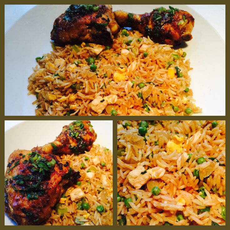 #Suriname Food# #Carribean Food# #Fried Rice# Fried Rice & Chicken -  Ingredients: Rice, Onion, Green Peas, 4 x Eggs, 3 x Garlic, 3 x tablespoons Sesame Oil & Salt. (Gebakken Rijst & Kip - Ingredienten: Rijst, Ui, Doperwtjes,  4 x Eieren, 3 x Knoflook, 3 eetlepels Sesamolie & Zout).