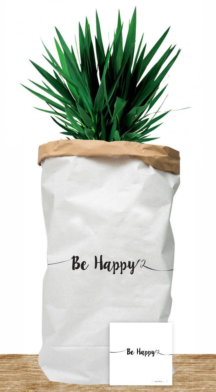"""Paper bag """"Be Happy"""" - Grand sac de rangement en papier kraft : Chambre d'enfant, de bébé par suite-creative-babies"""