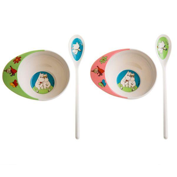 Moomin feeding set  Durable kids dinnerware in scratchproof melamine plastic with motifs of Mumin.