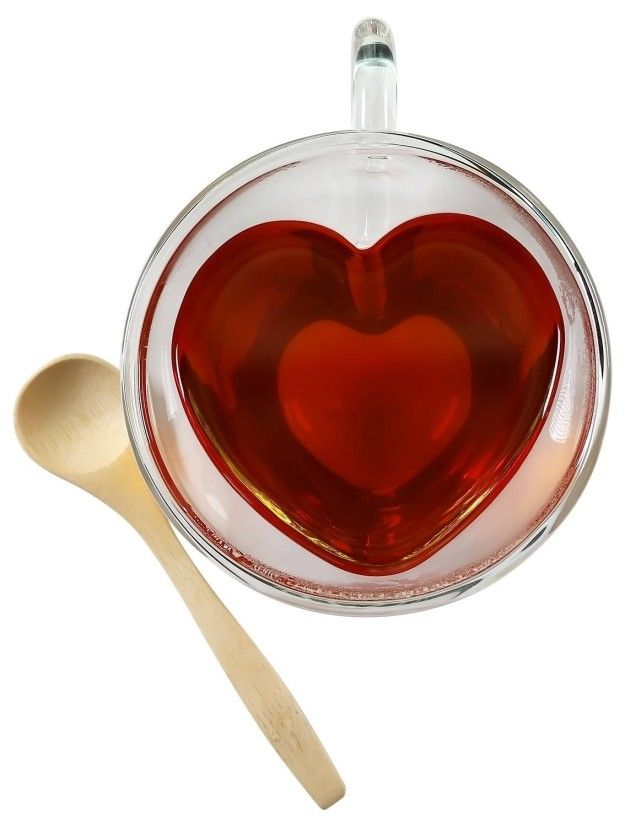 These double-walled glass tea cups that are heart shaped.