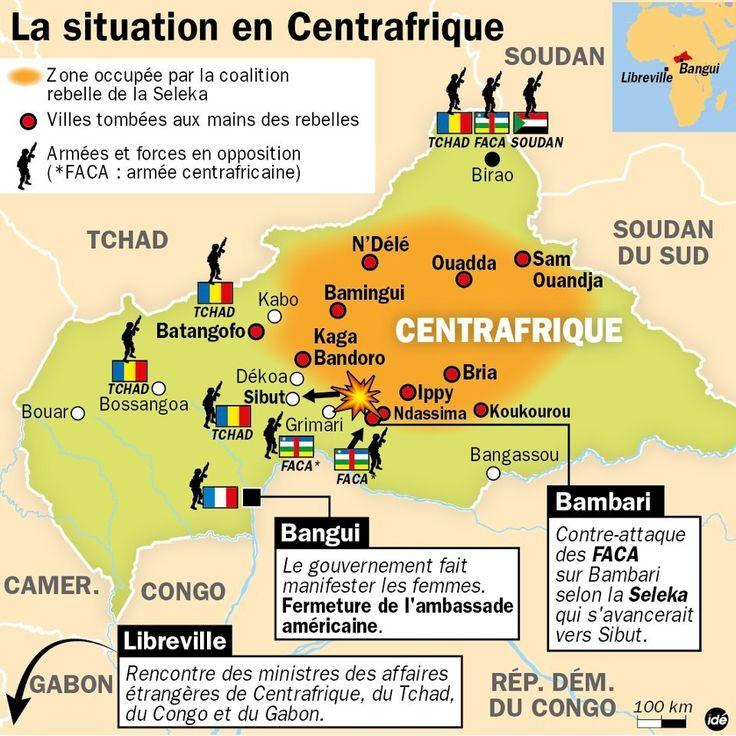 Situation géographique La République centrafricaine est constituée d'un vaste plateau à l'altitude variant entre 500 et 900 m, drainée par deux grands fleuves l'Oubangui et le Chari. D'une superficie de 622 984 km², située au cœur de l'Afrique centrale,...