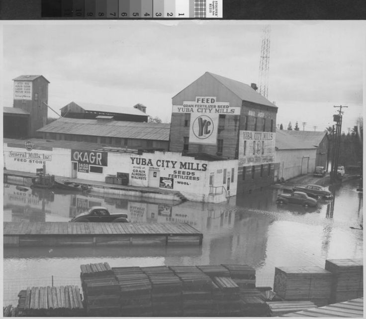 Photograph Of Yuba City Mills In Calif After 1955 Flood