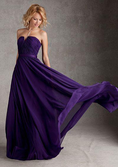 Size 12 Eggplant Angelina Faccenda 20421 Notched Long Bridesmaid Dress