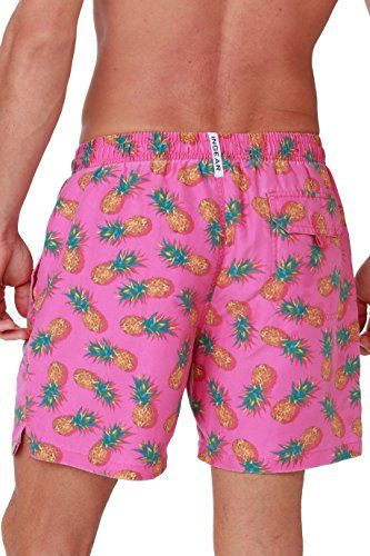 2552a17976 Men's Quick Dry Swim Trunks Water Shorts Swimsuit Beach Shorts With Mesh  Lining (Pink Pineapple, XX-Large)