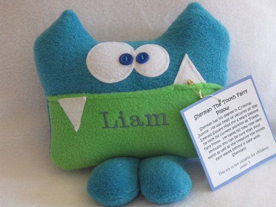 Personalized Tooth Fairy Pillow by Kooky Critters by kookycritters, $21.00