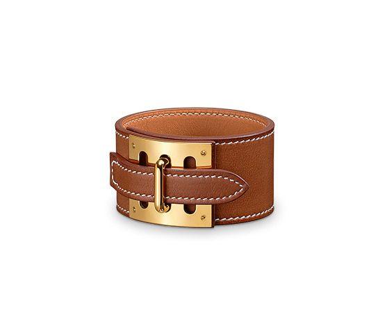 "Intense Hermes leather bracelet (size M)  Natural barenia calfskin  Gold plated hardware, 2.5"" diameter, 7"" circumference."