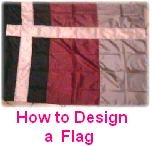 How to design, construct, and sew a color guard flag; Tips & Tricks page.