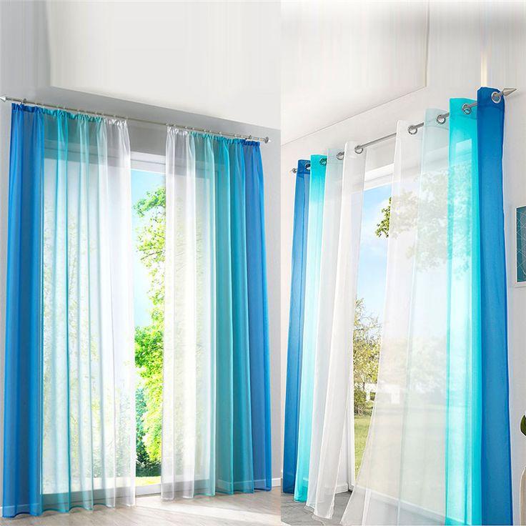 Оранжевый/синий градиент tulled гардины полиэстер пряжи окна Sceen градуированных тюль шторы для гостиной s/ M/L/XL купить на AliExpress