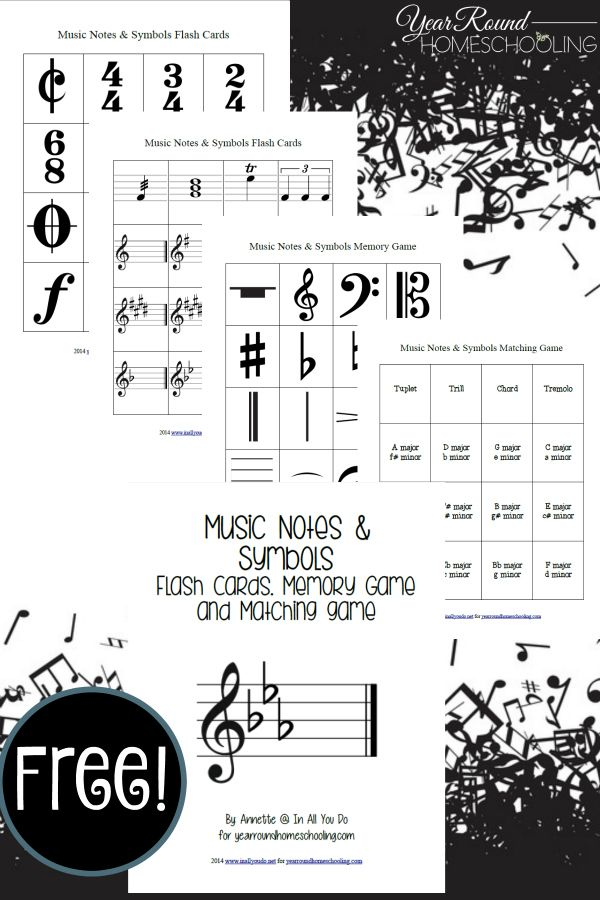 music notes, music symbols, music. flash cards, memory game, matching game, homeschool, homeschooling