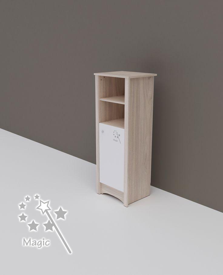 Magic – keskeny nyitott polcos + 1 ajtós szekrény