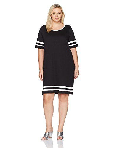 Junarose Women's Plus Size Short Sleeve Loose Dress with Stripe Details, Black Beauty, 2X