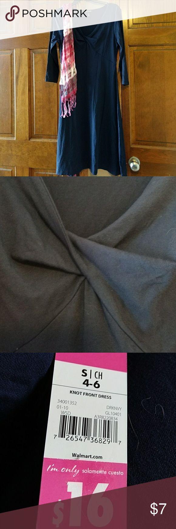 Dark Navy Long Sleeve Dress V-neck knot front George Dresses Maxi