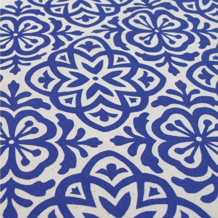 Moroccan Tile, Hand Screen Printed Fabric, Fat Quarter