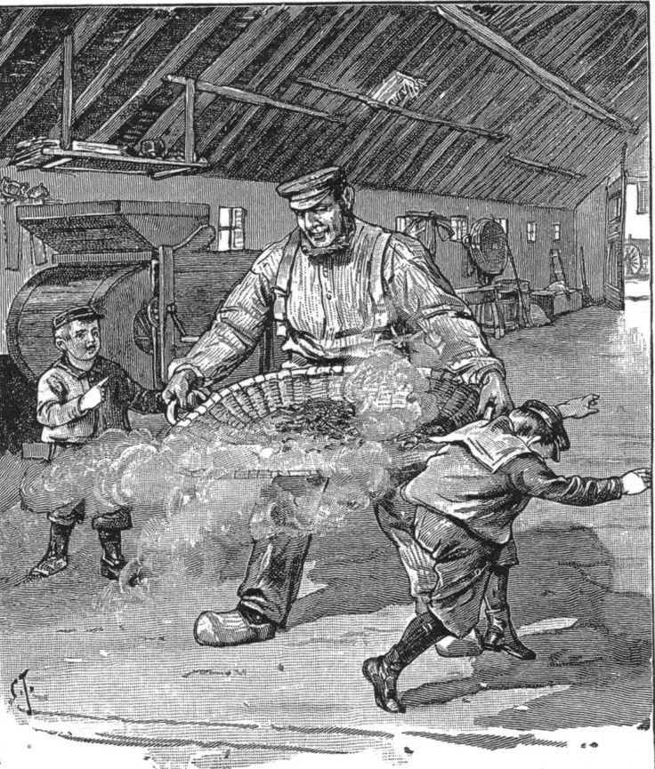"""Afbeelding uit Het volle Leven, 1905-1906. """"Het wannen van het graan"""""""