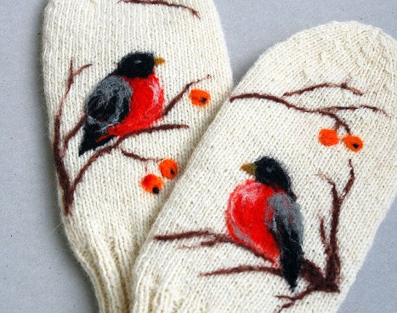 White Wool Mittens with Felted birds by Indrasideas on Etsy