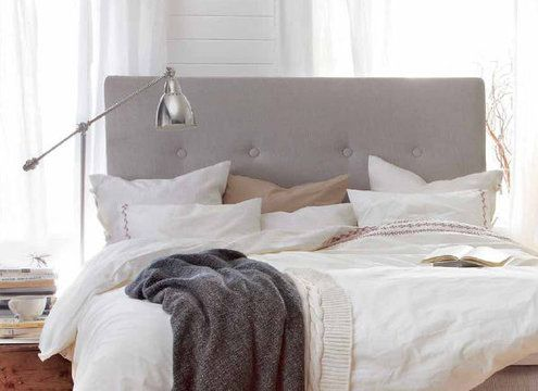 Contemporary, casual, comfy & chic. This headboard is totally DYI.