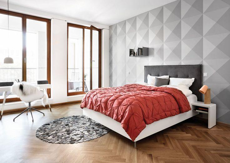 серые 3Д обои в интерьере спальни