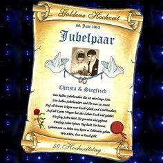 Geschenk Goldene Hochzeit - Urkunde zum 50. HOCHZEITSTAG in GOLD Goldhochzeit  in Sammeln & Seltenes, Saisonales & Feste, Jubiläen | eBay!
