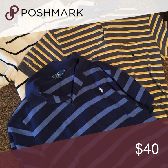 ⭐️ on sale!!!! 3 Polo brand shirts. 3 Polo brand shirts. The yellow striped has a pocket. Polo by Ralph Lauren Shirts Polos