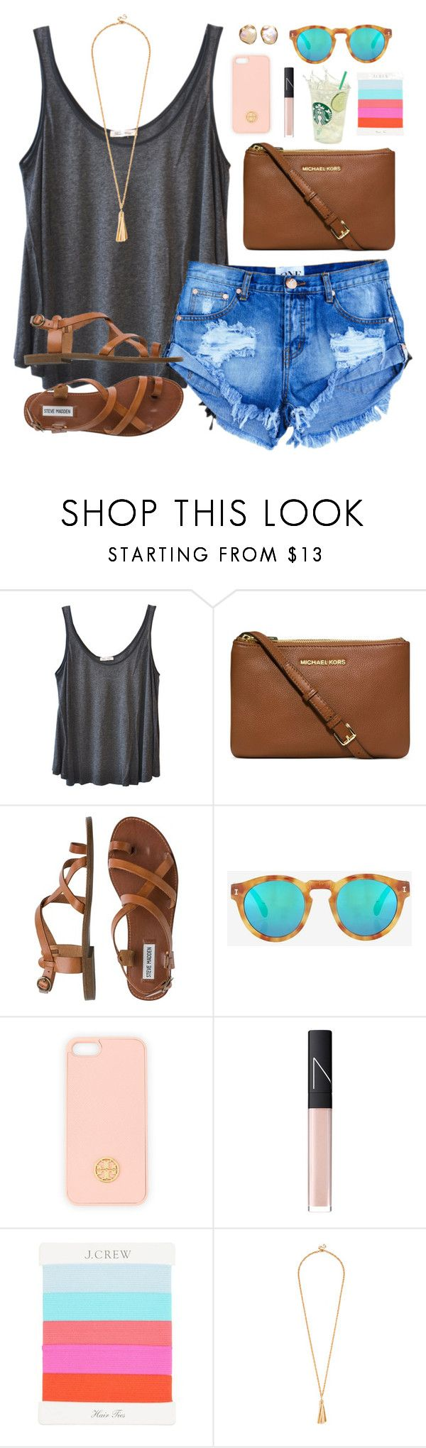 """""""20k tyyyyy <3<3"""" by classically-preppy ❤ liked on Polyvore featuring American Vintage, Michael Kors, Steve Madden, Illesteva, Tory Burch, NARS Cosmetics and J.Crew"""