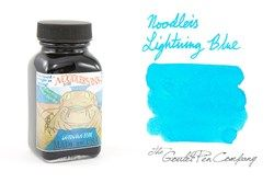 A 2ml sample of Noodler's Lightning Blue highlighter fountain pen ink, in a labeled plastic vial.