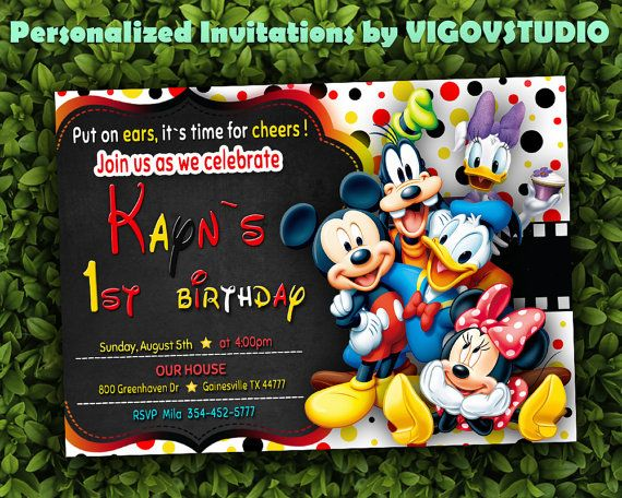 Mickey Mouse Clubhouse Invitations-Mickey Mouse by VIGOVSTUDIO