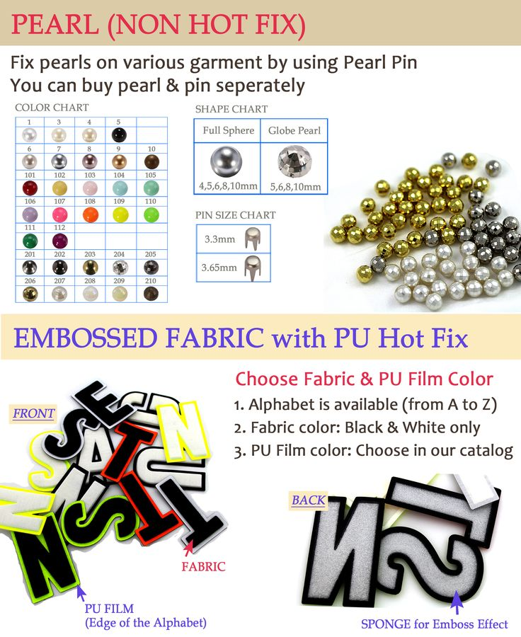 New Product - Full Pearl with No Hot Fix  with Hole and Leed Free are also available.  A Pin is needed when using.  Fabric Motif  Providing a three-dimensional effect with the bottom PU Film.  Any logos could be customized.