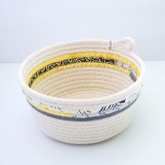 LIMITED EDITION // Fabric Wrapped Rope Bowl LARGE // Yellow and Grey