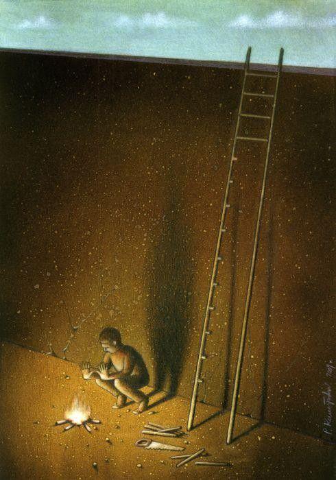 O artista polonês Pawel Kuczynski realiza desenhos satíricos com o principal objetivo de fazer que o público se auto-questione o porquê de muitas coisas que formam parte do nosso dia-a-dia. Seus temas vão da vida social à política ou a pobreza, e também se você olhar com atenção às obras, irá notar muitas coisas descritas incisivamente e sem palavras…