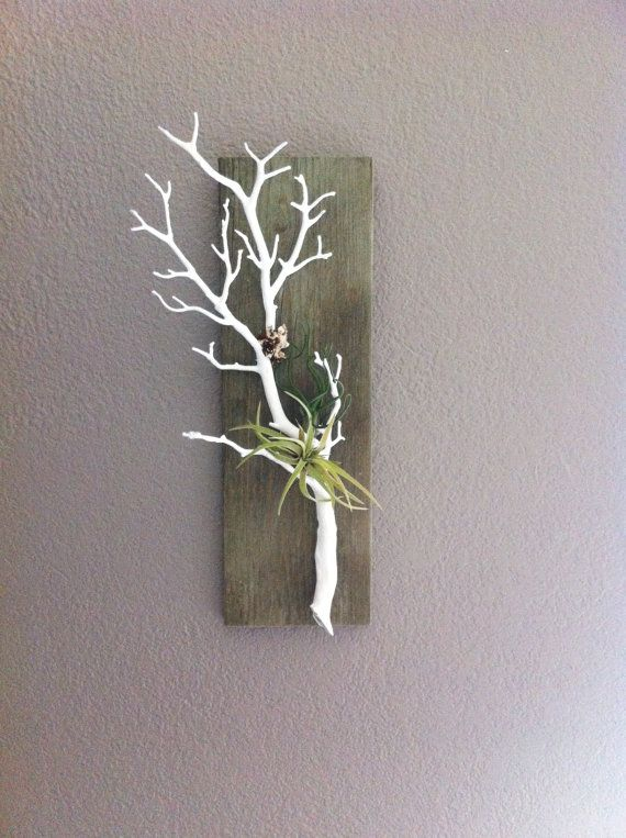 Whitewashed  Stained Barn Wood with Coral Branch by BarnwoodBlooms, $30.00