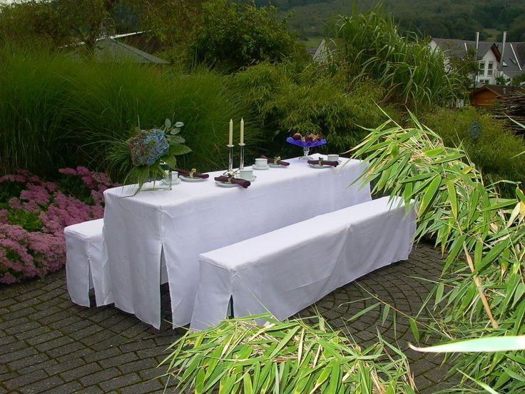 Amazon.de: Hussen-Set für Festzeltgarnitur mit 70cm-Tisch, gepolsterte Ausführung, weiss