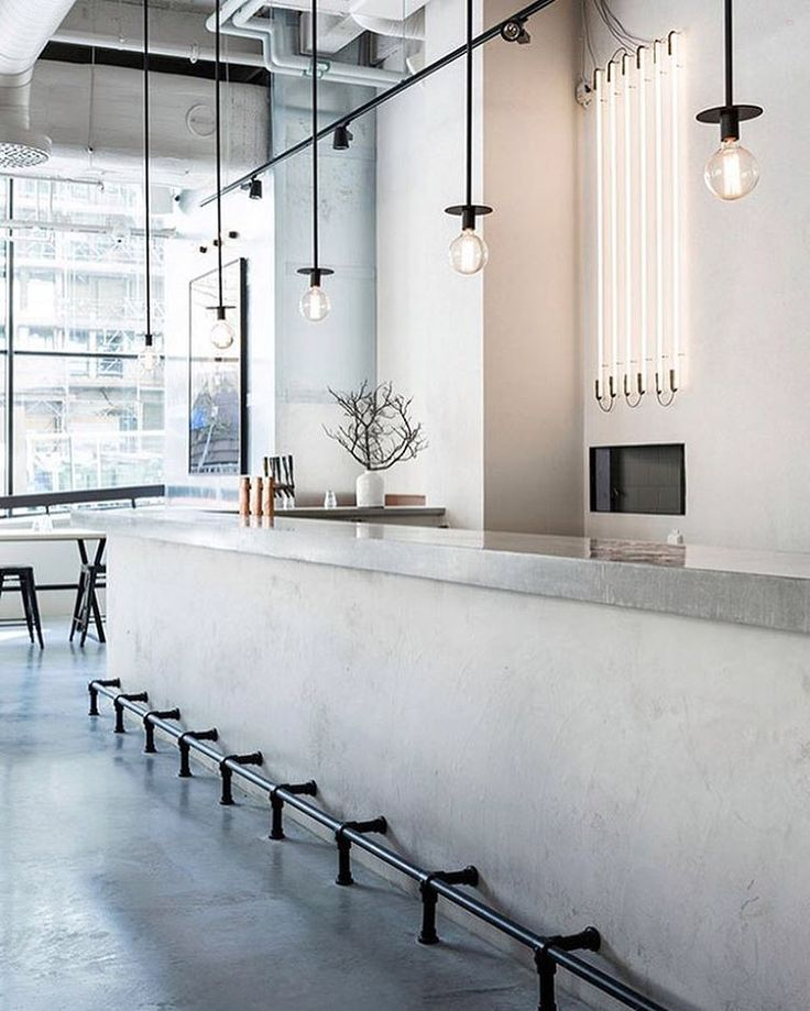Scandinavian minimalism meets industrial chic in this Stockholm restaurant by Richard Lindvall, who drew inspiration from large hotels in Shanghai, New York, and Amsterdam. #architecture #interiors #design #interiordesign #restaurant #sweden @richardlindvall... - Interior Design Ideas, Interior Decor and Designs, Home Design Inspiration, Room Design Ideas, Interior Decorating, Furniture And Accessories