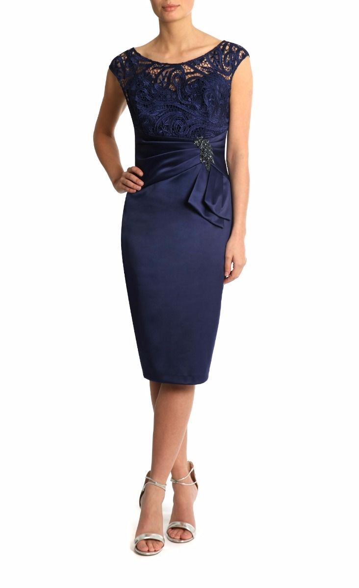 Midnight Blue Lace Satin Illusion Cap Sleeves Ruched Knee-Length Mother of Bride Dress